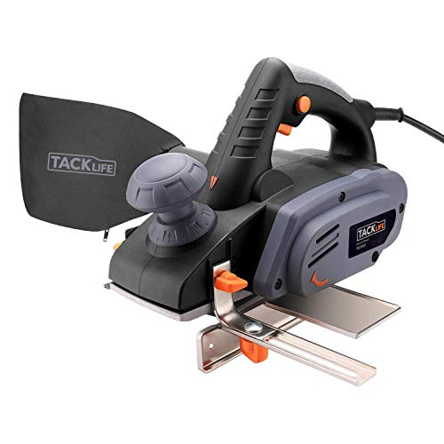 "TACKLIFE 7.5-Amp Electric Hand Planer, 3-1/4-Inch 900W 16,000Rpm Power Planer with 1/8""(3mm) Adjustable Cut Depth, Dust Bag, Parallel Fence Bracket, Ideal Planer for DIY - RES002"
