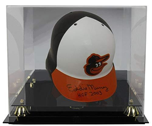 Display Cases Hat Mlb (Eddie Murray Autographed Signed Baltimore Orioles Batting Helmet HOF JSA With Deluxe Football Helmet Display Case)