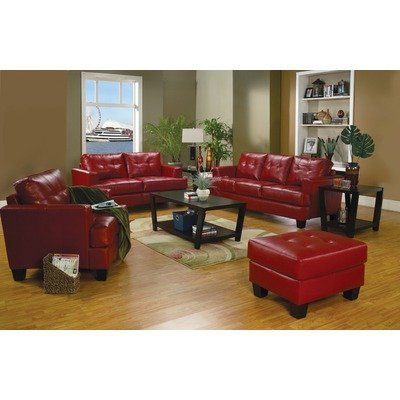 Amazon.com: Coaster Samuel Red Sofa Loveseat Chair Leather Living ...