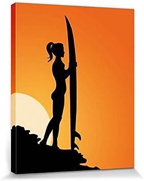 1art1 Mujeres Bonitas - Silueta De Surfista Al Atardecer Cuadro ...