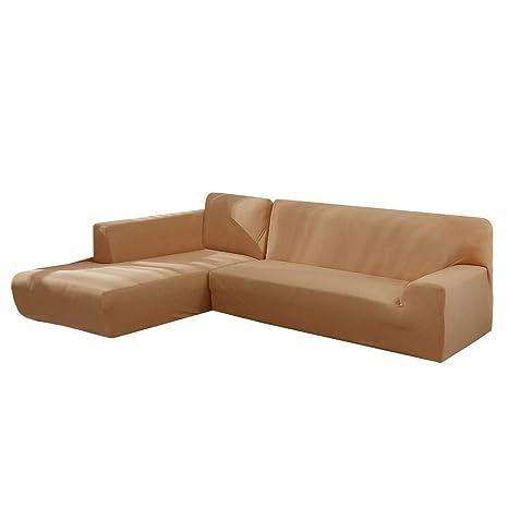 Hamkaw Funda de Sofa Elastica Chaise Longue Brazo Largo, Funda Cubre Sofá Chaise Longue, Protector para Sofás Acolchado Brazo(190-230 cm)