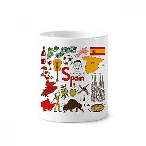 Spain Landscap Animals National Flag Toothbrush Pen Holder Mug White Ceramic Cup 12oz by DIYthinker