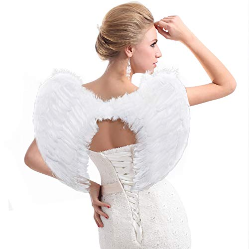 Breezy Valley Angel Wings, Angel Costume Wings, Feather Angel Wings for Adult Kids Children, Adult Angel Wings, Halloween Costume Accessories, Large White Angel Wing