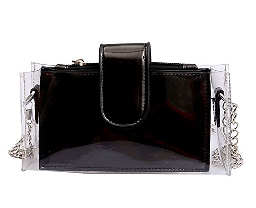 Laser Chain Bag Body Cross Shoulder Women's Bag Clear QZUnique Black Small B1pHqxwEE