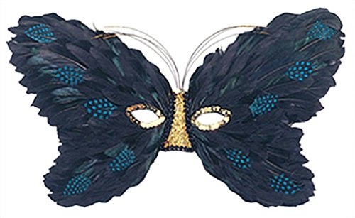 Feather Butterfly And Black Turquoise Mask (Turquoise and Black with Gold Feather Butterfly Eye)