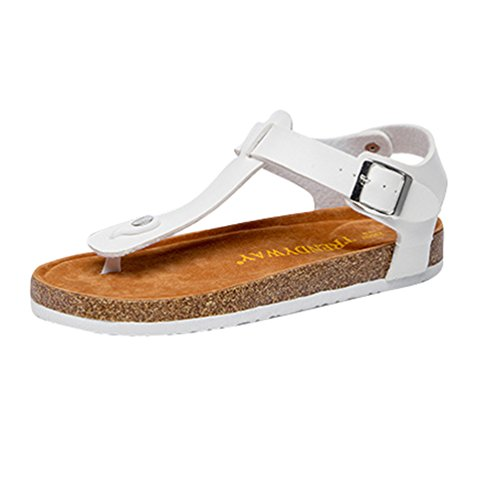 ZKOO Chanclas para Mujer Footbed De Corcho Vendaje Zapatillas Sandalias De Playa Sandalias Planas Verano Zapato Casual Blanco