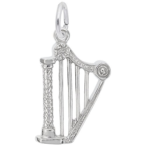 (Harp Charm In Sterling Silver, Charms for Bracelets and Necklaces)