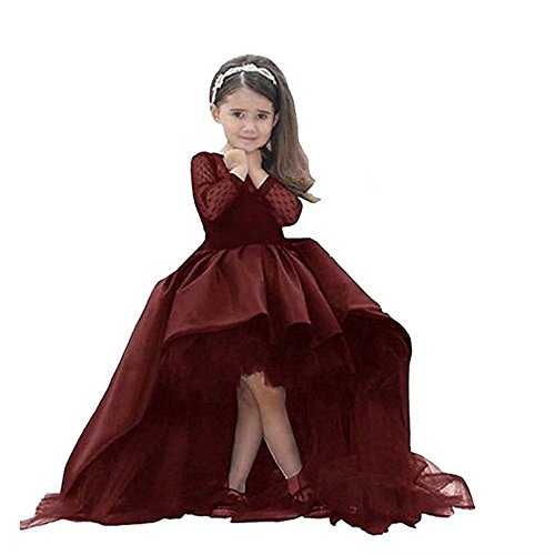 Kalos Dress Shop Hi-Low Flower Girl Dress First Communion Dress with Long Sleeves Burgundy (Dress Fantasy Wedding)