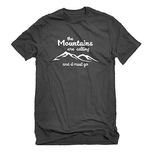 - Mens The Mountains are Calling Large Charcoal Grey T-Shirt