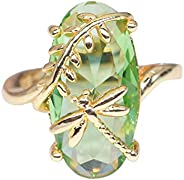 ZODRQ Women's Rings,Natural Transparent Gemstone Dragonfly Peridot Leaf Shape Design Cheap Rings Jewelry R