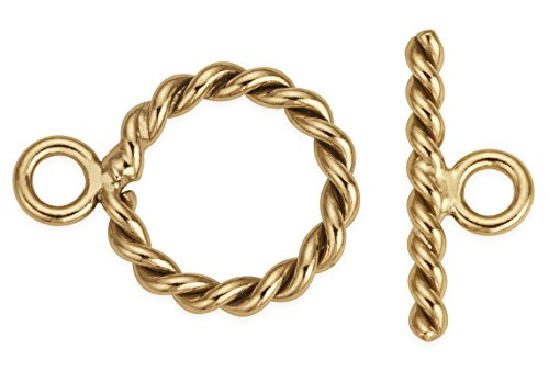 3 Sets 14Kt Gold Filled Twisted Toggle Clasp 9 mm 14kt Gold Filled Toggle Clasp