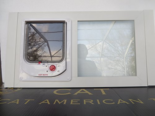Window CAT Electromagnetic White Vinyl Glass sash Window 32-39 inches Wide with Locking 6 x 6 pet Door for up to 15 lb. Must Have Magnet Collar to Enter The Ultimate CAT Window (Cat Electromagnetic)