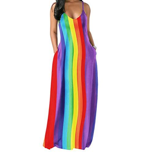 Womens Spaghetti Strap Dress Sleeveless - Sexy Tie Dye Print Summer Beach Kaftan Long Maxi Dresses Sundresses Rainbow Large]()