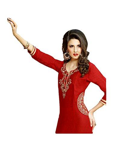 Jayayamala Dame-rote Baumwollschaufel-Ansatz-Tunika mit Entwerfer gesticktes Tunika-Kleid / plus Größenoberseiten-attraktive Tuniken-Damen übersteigt