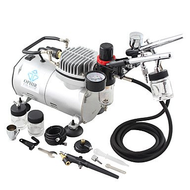 3-Airbrush Gun Spray Air Brush Kit Dual & Single Action Air Compressor Set for Hobby Body Painting , 220v by HJLHYL (Image #1)