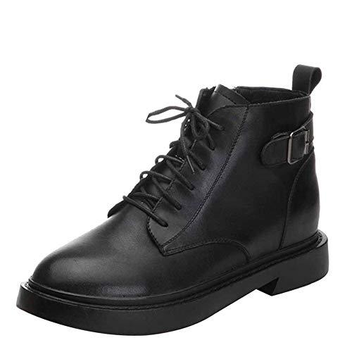 Da Autunno Ginocchio Black Scarpe In Martin Casual Moda Inverno Donna Boots Europea Chelsea Americana Stivali E Rivetto Pelle Basso Al 0xRqnvRO