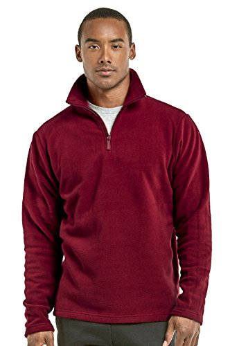 Teejoy Men's Polar Fleece Quarter Zip Pullover (M, Burg) - Mens Polar Fleece