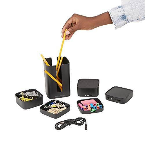 Stacked Desk Organizer, Powerbank, Bluetooth Speaker, Pencil Holder, Post-It Holder, Coaster, 2 Extra Storage Spaces - 7 Piece Set, Black ()