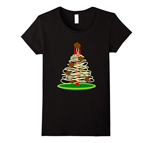Meatballs And Spaghetti Costume (Womens Italy Spaghetti Meatballs Fork Christmas Tree Funny T Shirt Medium Black)