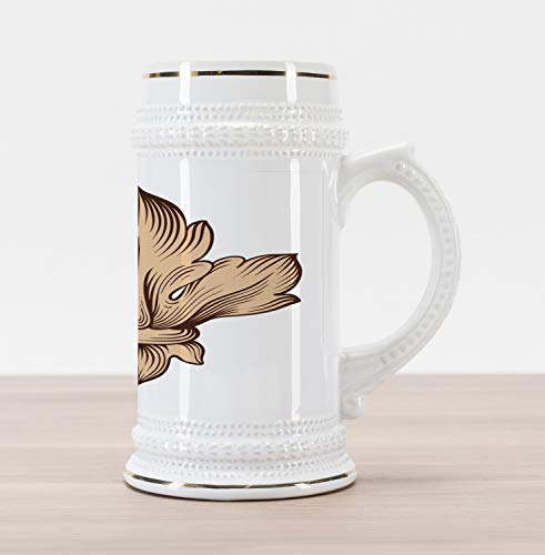 - Lunarable Vintage Modern Beer Stein Mug, Baroque Acanthus Leaves Fleur de Lis Antique Heraldic Pattern, Traditional Style Decorative Printed Ceramic Large Beer Mug Stein, Brown and Sand Brown