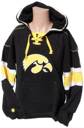 NCAA Iowa Hawkeyes Men's Hockey Hoodie Sweatshirt, Yellow-Black, (Black Collegiate Hoody Sweatshirt)