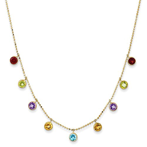 (Solid 14k Yellow Gold Multi Color Gemstone Necklace Chain w/ 2in ext. 16