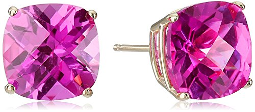 14k Yellow Gold Cushion-Cut Checkerboard Created Pink Sapphire Stud Earrings