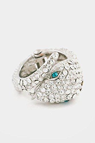 Trendy Fashion Jewelry Rhinestone Serpent Ring By Fashion Destination | (Rhodium/Clear) (Ring Prices Tacori)