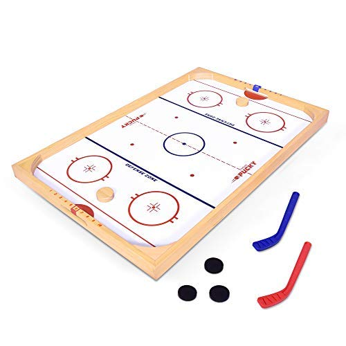 GoSports Hockey Ice Pucky Wooden Table Top Hockey Game for Kids & Adults - Includes 1 Game Board, 2 Hockey Sticks & 3 Pucks [並行輸入品] B07SFTVMD2