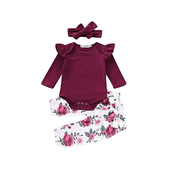 3PCS-Infant-Toddler-Baby-Girl-Clothes-Ruffle-Romper-Bodysuit-Floral-Halen-Pants-Headband-Outfits