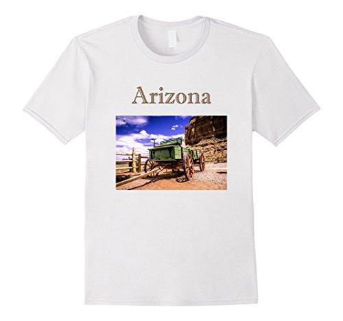 Mens Arizona Wild West Wagon T-Shirt Large White Wild West Wagons