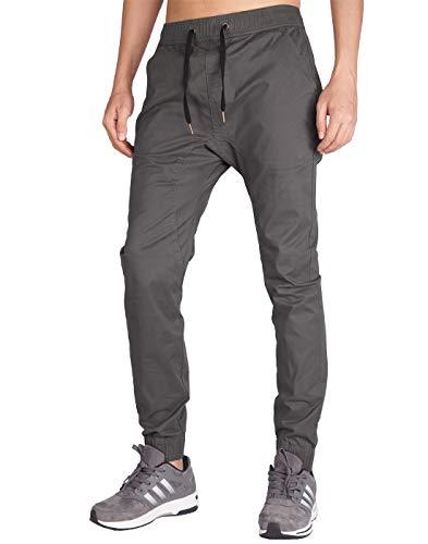 (ITALY MORN Men's Chino Jogger Khaki Casual Pants L Dark Grey)