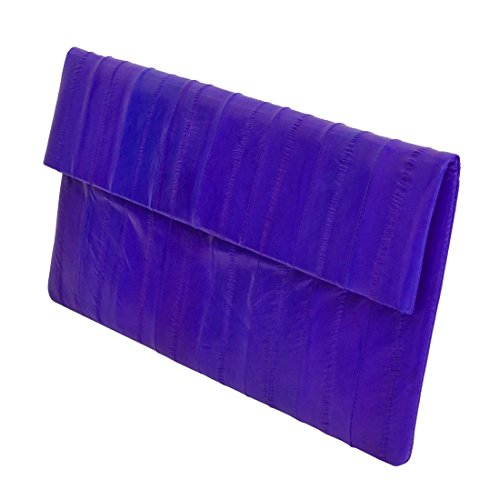 Evening Handbag Purple Clutch Folding Genuine Simple Slim Eel Bag Leather Skin xvYwSazn1q