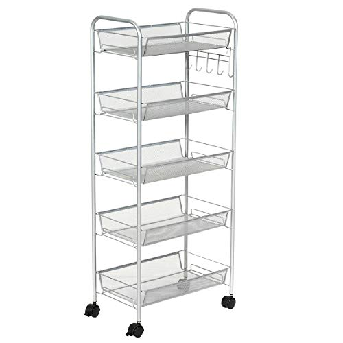 - NanaPluz Rolling File Utility Cart Home Office Kitchen Organizer Rack Stand w/ 5 Tier Mesh Storage Basket - Grey with Ebook