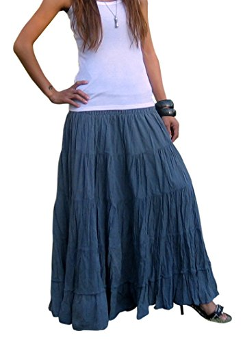Plus Size Broomstick Skirt - Women's Plus Size Long Maxi Pleated Skirt with Elastic Waist One Size Fits Most. Grey