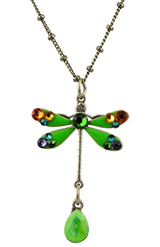 [Anne Koplik Dragonfly Necklace, Silver Plated Pendant with Swarovski Crystals, 18