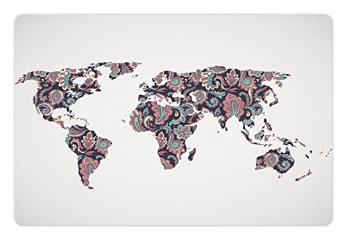 Ambesonne Floral World Map Pet Mat for Food and Water, Paisley Leaves Ornamental Eastern Style Old Fashioned Design, Rectangle Non-Slip Rubber Mat for Dogs and Cats, Plum Coral (Old World Paisley)