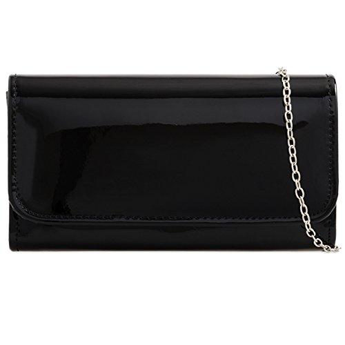 Black Purse Bag Plain Wedding fi9® Prom Evening Hand Patent Clutch Party Ladies aPWxwqCR