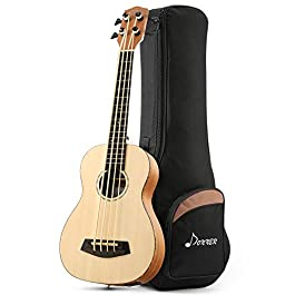 Donner DUB-110 30 Inch Acoustic Electric Bass Ukulele Spruce Mahogany Body with Built-in Tuner EQ Gig Bag