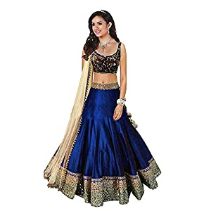 VKARAN Women's Raw Silk Semi-Stitched Lehenga Choli