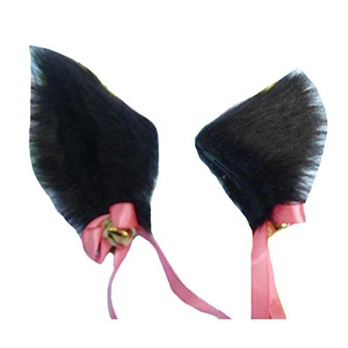 Angelaicos Unisex Handmade Long Hair Faux Fur Real Like Bowknot Bells Cat Ears Hairclips (Black)