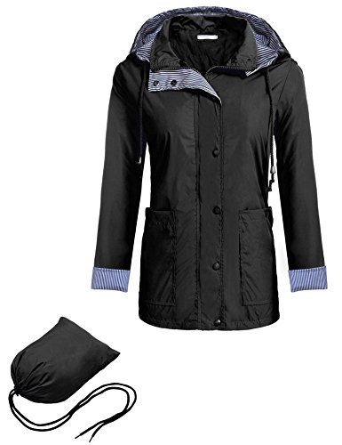 [Zeagoo Women's Hooded Long Sleeve Zip Buttons Rainproof Windproof Jacket Raincoat Black L] (Button Front Hooded Coat)
