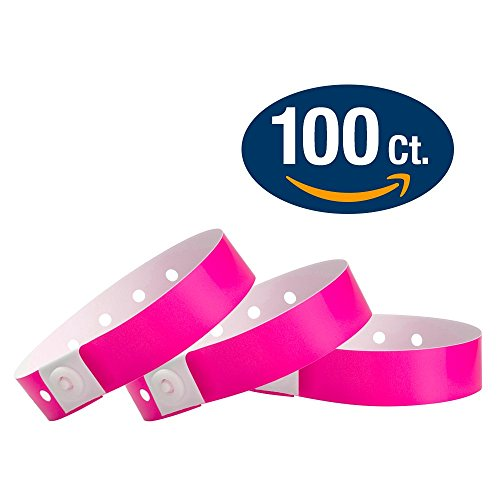 WristCo Neon Pink Plastic Wristbands - 100 Pack Wristbands For Events