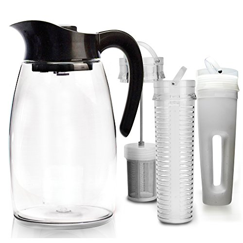 Primula Flavor-It Beverage System  Includes Large Capacity Fruit Infuser Core, Tea Infuser Core, and Chill Core  Dishwasher Safe  2.9 Qt.  Black