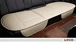 EDEALYN 53 × 19.3 inches Car Interior Accessories Smooth PU Leatherette long rear seat Auto seat covers Seat Cushion car seat covers (Rear -Beige)
