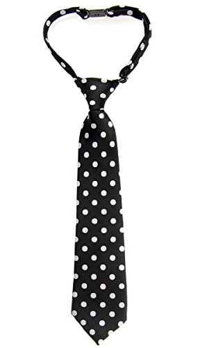Retreez Classic Polka Dots Woven Microfiber Pre-tied Boy's Tie - Black with White Dots - 24 months - 4 years (Polka Tie Dots Woven)