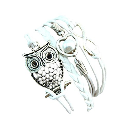Shensee Bracelets Fashion Women Lovely Infinity Owl Pearl Friendship Multilayer Charm Leather Gift White