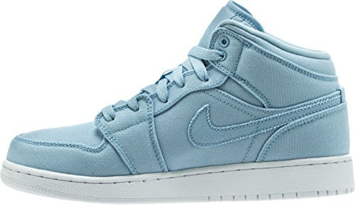 Ice Blue//Ice Blue//White 6Y Jordan Nike Boys Air 1 Mid Basketball Shoe GS
