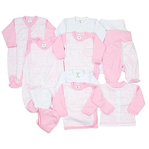 11-tlg. Set Baby Erstausstattung Bekleidung: Strampler Wickelshirts Schlafanzug Wickelbodys Strampelhose Mütze, Farbe: Rosa / Weiß, Größe: 62