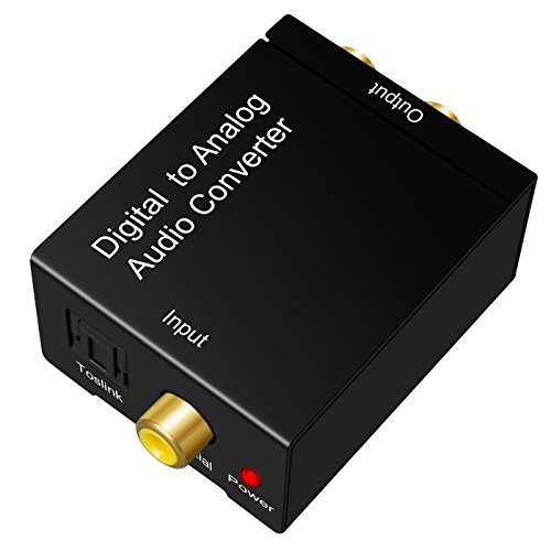 Digital to Analog Audio Converter OLRICK DAC Converter Digital SPDIF Toslink to Analog Stereo Audio RCA L/R Adapter with Toslink Cabel +USB Power Cable - for PS3 XBox X360 HDTV Blu-ray Machine Etc